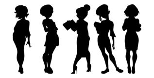 illustration av konturer för affärskvinnor på en vit bakgrundsuppsättning stock illustrationer