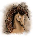 illustration av konturn av den rinnande hästen i vit bakgrund stock illustrationer