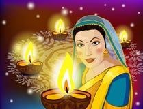 Illustration av kvinnan som önskar lyckliga Diwali vektor illustrationer