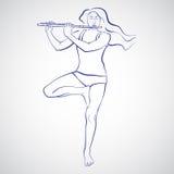 Illustration av kvinnan som blir i Vrikshasana och spelar flöjten Royaltyfri Foto