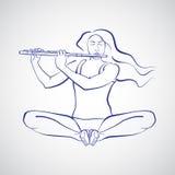 Illustration av kvinnasammanträde i Baddha Konasana Arkivbilder