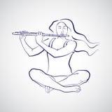 Illustration av kvinnasammanträde i sukhasana- och spelaflöjt Royaltyfri Fotografi