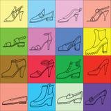Illustration av kvinnaskor, kängauppsättning Hand-drunkna skodonillustrationer Modesamlingen skissar Arkivfoto