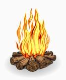 Illustration av lägerbrand på vit Royaltyfria Bilder