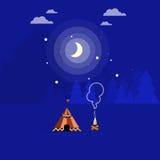 Illustration av lägereld och tältet Royaltyfri Fotografi