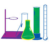 Illustration av laboratoriumutrustning vektor illustrationer