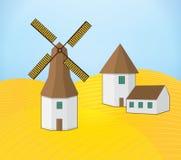 Illustration av landskapväderkvarnbyggnad Royaltyfria Bilder