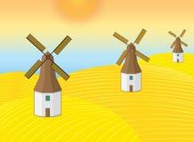 Illustration av landskapväderkvarnbyggnad Arkivfoton
