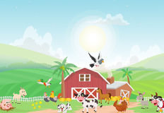 Illustration av lantgårddjuret med bakgrund Arkivbilder