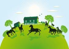 Illustration av lantgården och paddocken Royaltyfri Fotografi