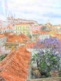 Illustration av Lissabon kyrklig namnSao Vicente de Fora Church i området Alfama stock illustrationer