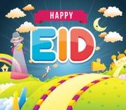 Illustration av lycklig eid med moskén royaltyfri illustrationer