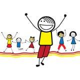 Illustration av lyckliga barn (ungar) hoppa & danc Royaltyfri Bild