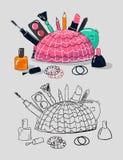 Illustration av makeuphjälpmedel royaltyfri illustrationer