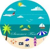 Illustration av mallen för ferie på havsstranden Stock Illustrationer