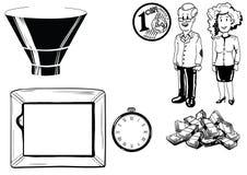 Illustration av mannen och kvinnan, pengar, tv, klocka Royaltyfri Fotografi