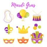 illustration av Mardi Gras symboler vektor illustrationer