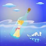 Illustration av meddelandet i flaskan på havet Önska i en flaska Arkivfoton