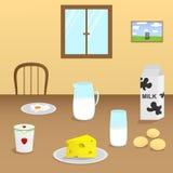 Illustration av mejeriprodukter på en trätabell i matsalen Arkivfoto