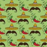 Illustration av Mexico Hattsombrero och mäns mustasch seamless modell Arkivfoto