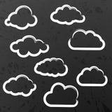 Illustration av molnsamlingen på skolasvart tavla Royaltyfri Fotografi
