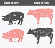 Illustration av nötkött, diagram för grisköttsnitt vektor illustrationer