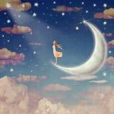 Illustration av natthimmel med moln, månen och stjärnor stock illustrationer