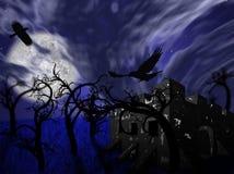 Illustration av nattskogen med fullmånen, en slott och ravens Royaltyfria Bilder