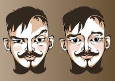 Illustration av olika ansiktsuttryck en man Arkivfoto