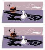 Illustration av oljeplattformen eller sjunkaoljetanker som släpper olja in i havet som bildar en handform som griper en havsfågel stock illustrationer