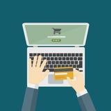 Illustration av online-betalning med kreditkorten Arkivfoton