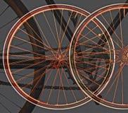Illustration av oskarpa cykelhjul med gamla kedjor arkivbild