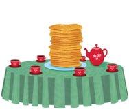 Illustration av pannkakor i en maträtt på vitbakgrund vektor illustrationer