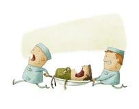 Illustration av personer med paramedicinsk utbildning på arbete Stock Illustrationer