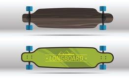 Illustration av plana longboards royaltyfri bild