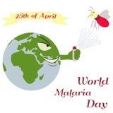 Illustration av planeten och myggan för världsmalariadagen Royaltyfri Foto
