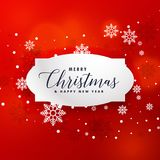 Illustration av röd bakgrund för jul med snöflingor Royaltyfri Foto