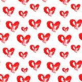 Illustration av röda hjärtor för vattenfärg stock illustrationer