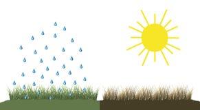 Illustration av regn och solgud eller missväxt Royaltyfria Bilder