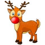 Illustration av ren Rudolph för näsa för lycklig tecknad filmjul en röd Flodhäst På en rosa bakgrund med palmblad stock illustrationer