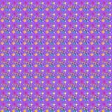 Illustration av sömlöst med bilden av borstarna med målarfärger och borsteslaglängder på en purpurfärgad bakgrund, abstrakt bakgr Arkivbild