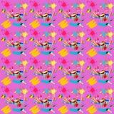 Illustration av sömlöst med bilden av borstarna med målarfärger och borsteslaglängder på en rosa bakgrund Royaltyfria Foton