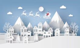 Illustration av Santa Claus på himlen som kommer till staden stock illustrationer