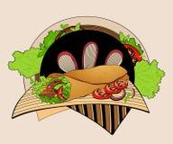 Illustration av shawarmaen Royaltyfria Bilder