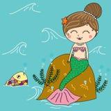 Illustration av sjöjungfrun i havet med den färgrika fisken som ler f Royaltyfri Bild