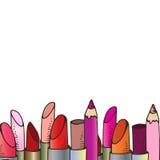 Illustration av skönhetsmedel Blyertspennor och läppstift för smink vektor illustrationer