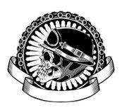 Illustration av skallen med hjälmen royaltyfri fotografi