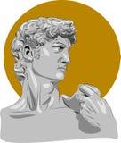 Illustration av skulptur David Michelangelo G?ra perfekt f?r den hem- dekoren liksom affischer, v?ggkonst, totop?sen, t-skjortan  stock illustrationer