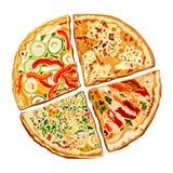 Illustration av smaklig pizza Arkivfoto