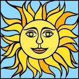 Illustration av solen med att le framsidan också vektor för coreldrawillustration Royaltyfri Bild